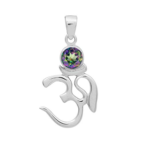 Opción múltiple Piedra preciosa de forma redonda Plata de ley 925 Om Design Yoga Colgante de joyería (Topacio místico)