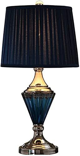 XFXDBT Lámpara de mesita de noche Lámpara de mesa de estilo europeo moderno simple lámpara de noche de dormitorio de la cama de la cama mediterránea americana vidrio azul cálido sala de estar iluminac
