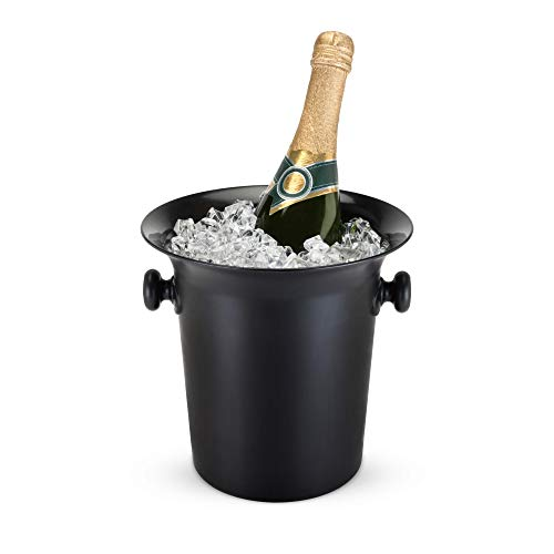 True Ice Bucket Holder Chilling Tub for Indoor and Outdoor Use, 1-Bottle, Black