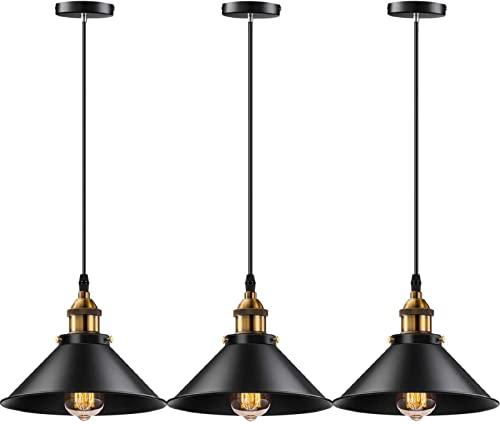 YNXing Lámpara colgante industrial E26 E27 base vintage colgante luces colgantes retro lámpara colgante hogar cocina Iluminación 3 Pack