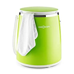 oneConcept Ecowash-Pico Edition 2020 Mini Tvättmaskin Camping Tvättmaskin (Toploader med slangbella funktion för 3,5 kg tvätt, 380 watt, energi och vattenbesparing, timer) grön