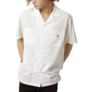 [カンゴール] オープンカラーシャツ メンズ 開襟シャツ サテン 半袖 オープンシャツ ホワイト L
