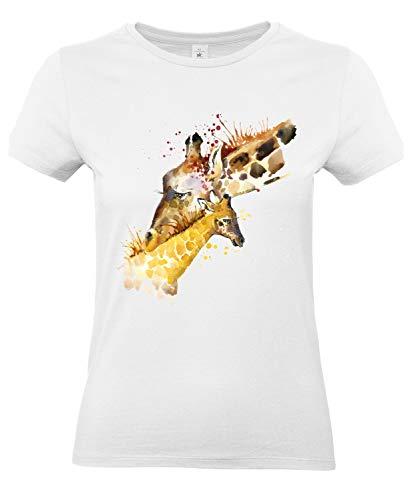 Smilo & Bron Damen T-Shirt mit Motiv Giraffen Bedruckt Weiß White XS