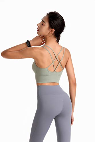 PP PLUIE POURPRE 3 Pack Women Strappy Crisscross Sports Bras Padded Wirefree Activewear Yoga Bra Removable Pads