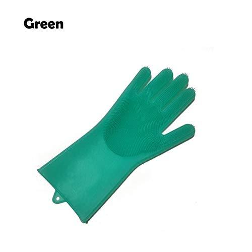 1 Uds Guantes de Silicona para Lavar Platos con Cepillo de Limpieza Guantes de Limpieza de Cocina Guantes de Limpieza de Grado alimenticio-Green Right