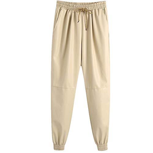 N\P Tres colores de cuero sintético pantalones de correr de las mujeres pantalones casuales pantalones de cuero pantalones