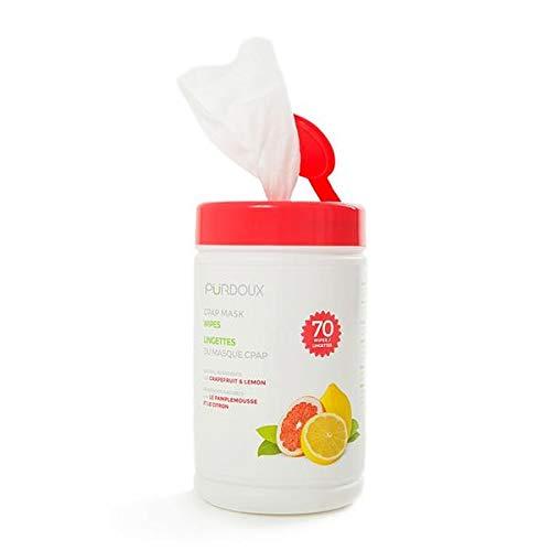 Purdoux 100% algodón CPAP máscara toallitas húmedas con aroma a pomelo limón, 70 toallitas