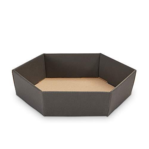10 x PresentFill® Präsentkorb Schwarz leer ohne Inhalt Geschenkkorb aus umweltfreundlichen 100% Recycling Karton - klein sechseckig - Made in Germany für Weihnachten - Ostern - Hochzeit - Geschenke
