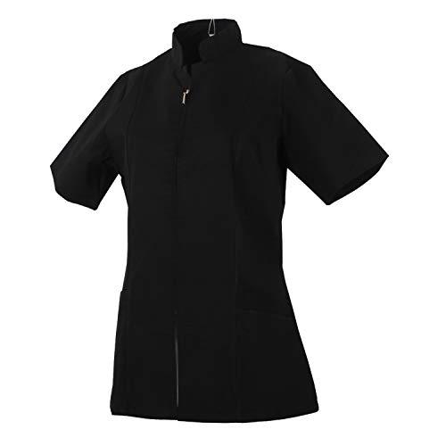 MISEMIYA - Arbeitskleidung Frau REIßVERSCHLUSS Kurze ÄRMEL UNIFORM KLINIK Krankenhaus Reinigung TIERARZT Gesundheit GASTGEWERBE - Ref.829 - X-Large, Schwarz