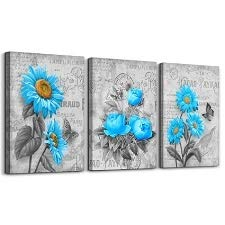 Schilderij - Blauwe bloemen, 120x80cm, 3 luik - Canvas - Muurdecoratie