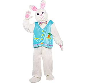 This complete bunny costume is perfect for an Easter egg hunt or even Halloween The costume includes a plush headpiece, a plush shirt with an attached bow tie and vest, plus matching plush pants Complete your perfect bunny look with included rabbit p...