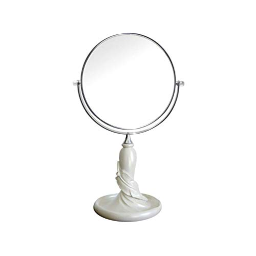XYSQWZ Double Sided Makeup Mirror - 360 Degree Rotating Mirror Desktop 3x Magnifier (color : White Size : 28 12.3cm)