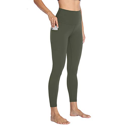 HIGHDAYS High Waisted Yoga Pants with Pockets for Women - Soft Tummy Control Stretchy Workout Leggings