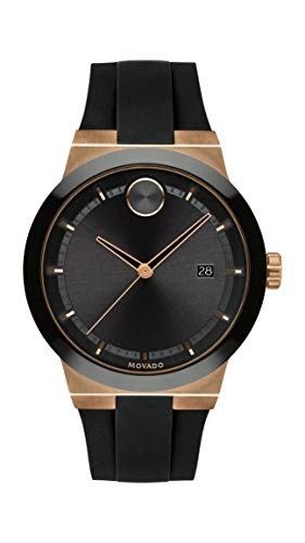 Movado Men's Bold Fusion Stainless Steel Swiss Quartz Watch with Silicone Strap, Black, 20 (Model: 3600622)