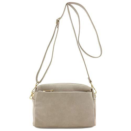 Small Triple Zip Crossbody Bag Beige Brick