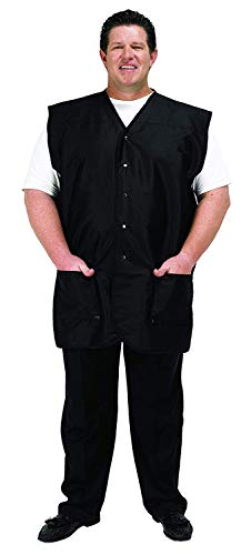 A Size Above Big & Tall Vented Mesh Back Barber Vest, Cut for Fuller Figures, Stretch Mesh Back, Lower Pockets with Zippered Bottoms, Lightweight, Water Resistant Nylon/Poly, Black, 2X
