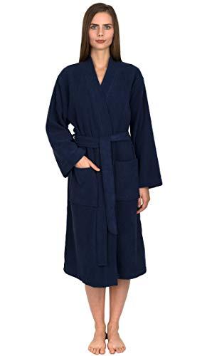 TowelSelections Women's Robe Turkish Cotton Terry Kimono Bathrobe Medium/Large Patriot Blue