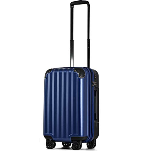 【JP Design】スーツケース 機内持込 300円コインロッカー 軽量 8輪 ダブルキャスター TSAロック ss s 小型 ハードキャリー ファスナータイプ キャリーバッグ キャリーケース (Sサイズ(機内持込36L〜40L), ネイビーS)