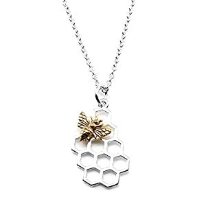 Sterling Silver Honeycomb Charm with Bronze Bee Necklace, 18″