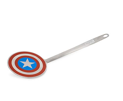 Marvel Captain America Shield Colored Flat Stainless Steel Spatula - Heavy Duty Wide Head Kitchen Cooking Flipper or Turner for Hamburger, Egg, Pancake & Sandwich - Perfect for Grills or Griddles
