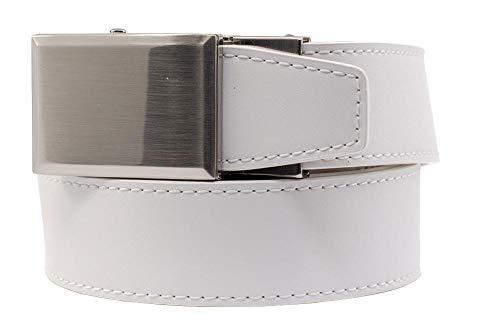 2019 Go-In! Shield V.3 White Leather Golf Belt for Men with Adjustable Ratchet Buckle and Hidden Ball Marker - Nexbelt Ratchet System Technology