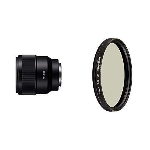Sony SEL-85F18 Porträt Objektiv (Festbrennweite, 85 mm, F1.8,Vollformat, geeignet für A7, A6000, A5100, A5000 und Nex Serien, E-Mount) schwarz & AmazonBasics Zirkularer Polarisationsfilter - 67mm