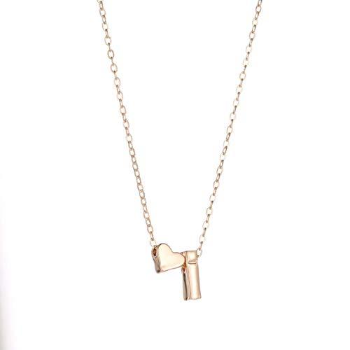 ZhenS Moda corazón pequeño Delicado Collar Inicial Oro Plata Color Letra Nombre Gargantilla Collar para Mujer Colgante joyería Regalo-K, Oro