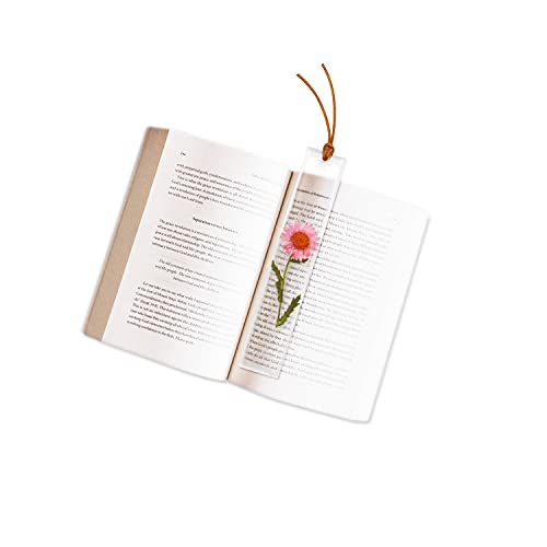 Cute Resin Bookmarks for Women, Beautiful Pressed Flower Bookmark, Handmade Plant Bookmarks with Leather Tassels (Pink Daisy)