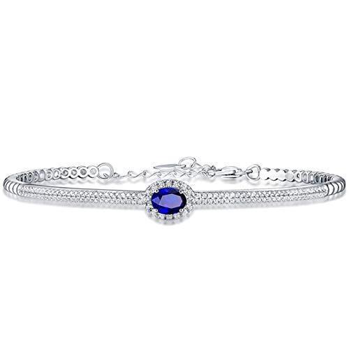 Beydodo Pulsera Mujer Plata Azul,Pulsera Oro Blanco 18k Halo con Oval Zafiro Diamante 0.78ct Longitud 18cm + 3cm