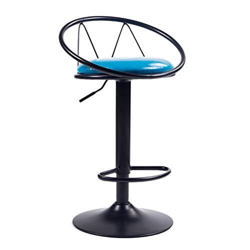 Ontbijt barkruk in hoogte verstelbare barkruk, PU-leer, beklede hoge kruk, 360 graden draaibaar, stoel met rugleuning, industriële stijl, meubel, voor keuken, restaurant, bar,