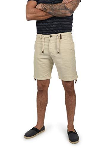 Indicode Moses Herren Leinenshorts Kurze Leinenhose Bermuda Mit Kordel Regular Fit, Größe:XL, Farbe:Fog (004)
