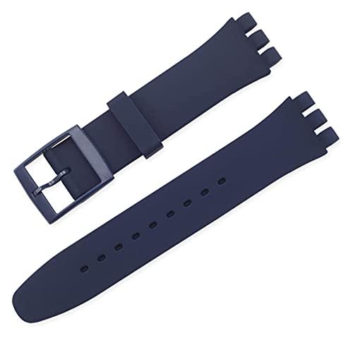 FETTR Correa de silicona de repuesto de silicona de 12 mm, 16 mm, 17 mm, 19 mm, 20 mm, correa de repuesto de silicona colorida (color: 20 mm, tamaño: azul marino)