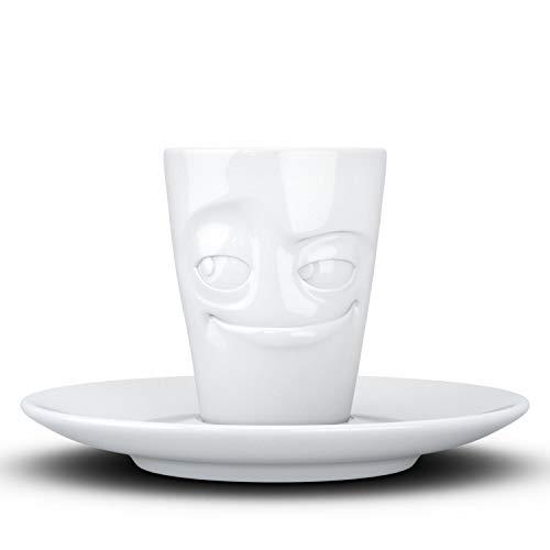 Fifty Eight T02.11.01 Mug Mug & Unterteller(verschmitzt) Espresso, Hartporzellan, weiß