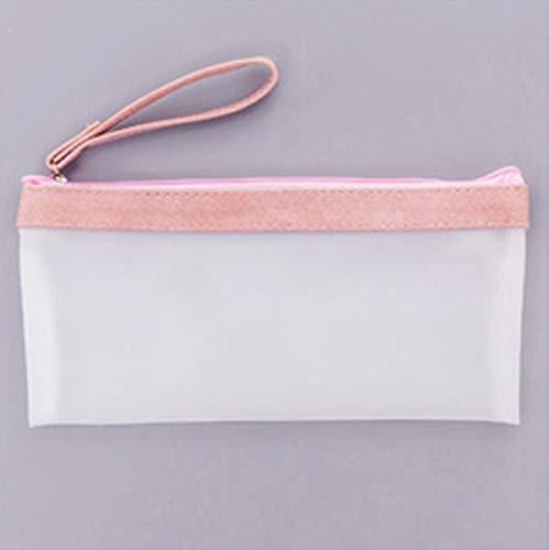 Scrub Lápiz Bolsa Transparente Estudiante Funda de Lápiz Oficina Escuela Suministros Sólido Color Sólido para Niñas (Color : Pink)
