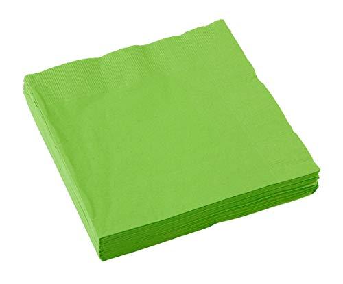 amscan Serviettes en Papier, Vert Kiwi 33 cm 2 Plis