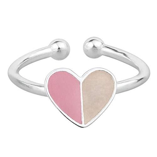 Family Needs Sterling Silver Adjustable liefde hart ring in druppels glazuur Design Fashion Probleemloos Persoonlijkheid Graceful Undecided Ring (Color : Pink)