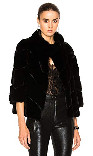 Yves Salomon Rex Quarter Sleeve Fur Jacket in Noir (38)