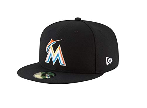 New Era 59Fifty Hat Miami Marlins Authentic Home Black Fitted Cap 70440171 (7 1/4)