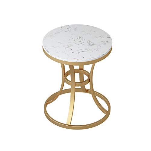 YAQ-Muebles de oficina Mármol Mesa lateral, solo metal mesa redonda Pequeño Inicio Apartamento Balcón Café Mesa de negociación Sofá Mesa lateral Mesas de pedestal ( Color : A , Size : 50*50*60CM )