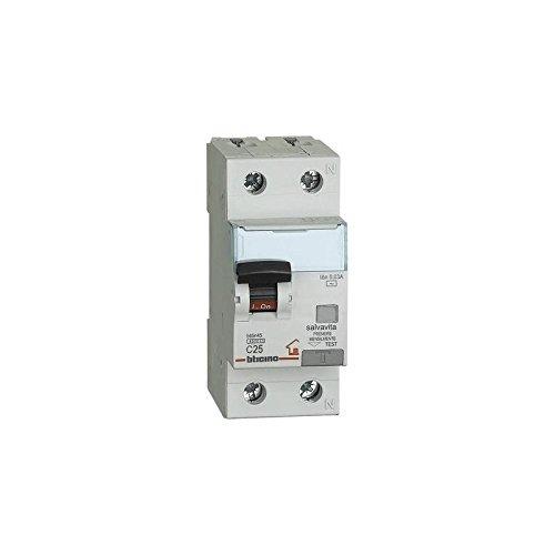 BTicino GC8813Ac32 BTDIN Interruttore Magnetotermico Differenziale 1P+N, 4.5 kA, Idn = 0.03 A, In = 32 A