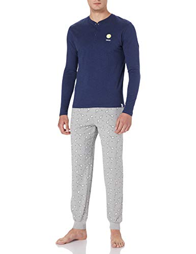 Springfield Pijama Estampado Tennis Juego, Gris Medio, L para Hombre