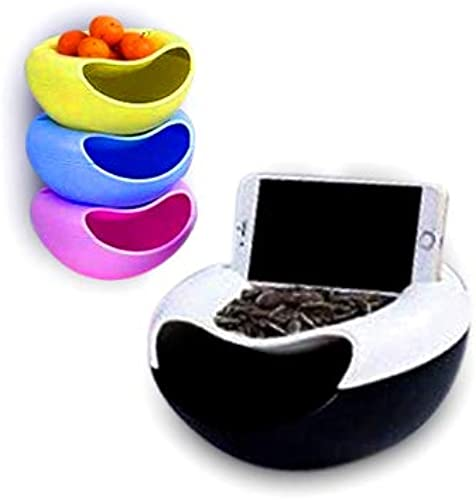 DK HOME APPLIANCES Dual Creative Fashnable Fruit Platter Snacks Plate with Mobile Holder Plate for Nuts with Trash Storage Fruit Platter Bowl with Smartphone Holder 1 Pcs Multi Color