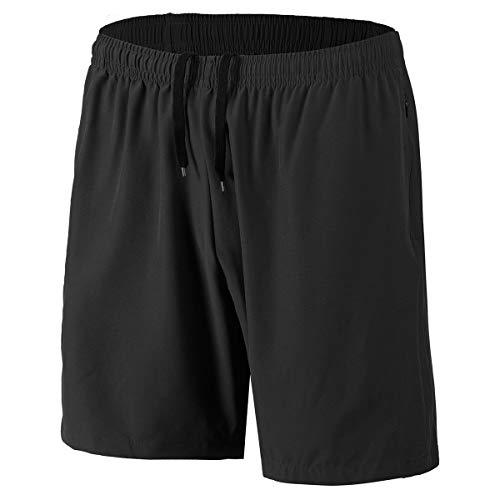Herren Sport Shorts Schnell Trocknend Kurze Hosen mit Reißverschlusstaschen (Schwarz L)