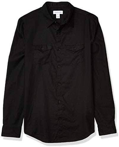 Calvin Klein Men s Long Sleeve Lightweight Cotton Linen Button Down Shirt Black 2X Large product image