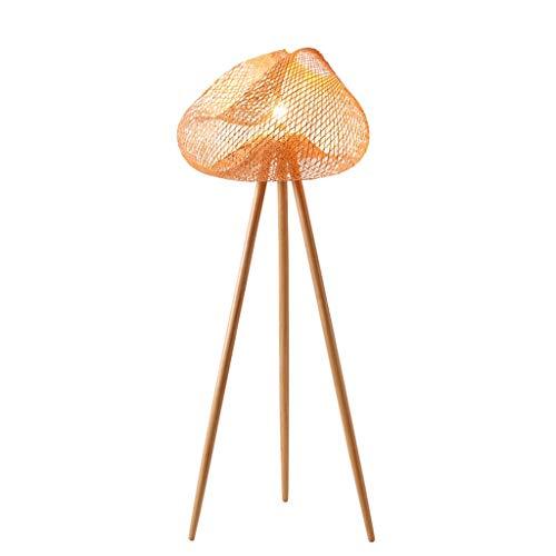zxb-shop Lampada Creative Tripod Bamboo Weave Lámpara de mesilla Sala de Estar Salón de té Hotel Lámpara de pie