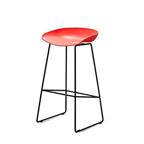 WLP-WF Taburetes de Bar, Resistente Y Simple, Escritorio Frontal, Silla de Bar, Silla de Bar Alta, Silla de Mesa de Comedor de Moda para el Hogar, Duradera,Rojo,65Cm