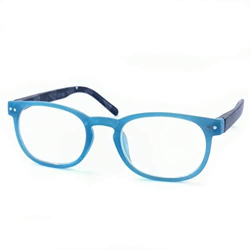 Marc Andrews Bunte Lesebrille Lesehilfe mit Federscharnier drei Farben wählbar farbig modisch Frühlingsbrille (2.0, blau)