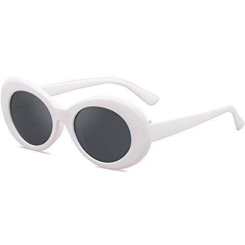 SOJOS Clout Goggles Oval Mod Retro Vintage Kurt Cobain Inspired Sunglasses Round Lens SJ2039 with White Frame/Grey Lens