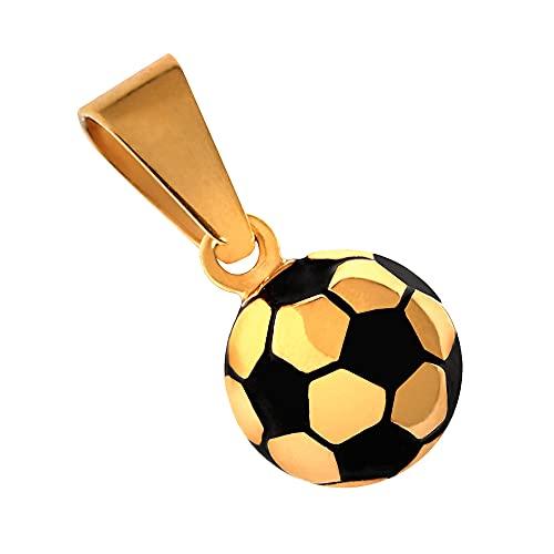 tumundo® Ketten-Anhänger Fußball Ball EM WM Fanartikel Sport Football Edelstahl Für Hals-Kette Panzerkette Königskette, Variante:golden