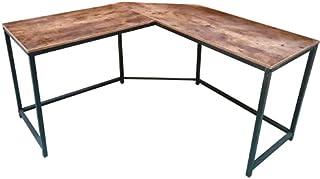 Hoekbureau Stoer - L-vormige computertafel - industrieel vintage - zwart metaal met bruin hout